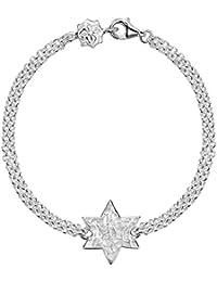 DOWER & HALL Cherish Silver Engravable Flat Star Double Chain Bracelet of 18.5cm