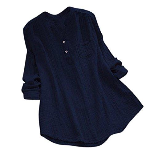 YEBIRAL Damen Bluse Lose Einfarbig Große Größen V-Ausschnit Langarm Leinen Lässige Tops T-Shirt Bluse S-5XL(EU-50/CN-5XL,Marine) -