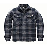 Dickies Portland Shirt High Quality Padded Work Shirt Jacket Polar Fleece Check Design Studded Front Opening Chest Pockets Comfort Warm SH5000 Navy Blue Medium (40-42