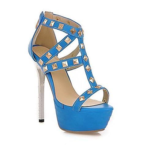 balamasa Mesdames clouté Rivet High-Heels Matière souple Sandales - Bleu - bleu, 39.5