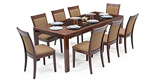 Urban Ladder Vanalen 6-to-8 Extendable - Dalla Eight Seater Dining Table Set (Dark Walnut)