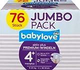 babylove Windeln Premium aktiv plus Größe 4+, maxiplus 9-20kg, Jumbo Pack 2x38 Stück, 76 St