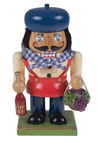 Tradizionale in legno chubby italian schiaccianoci by clever creations | bottiglia di vino e cesto di uva festive christmas decor | altezza 17,8cm perfetto per mensole e tavoli