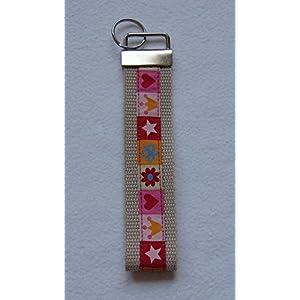 Schlüsselband Webband Gurtband rot Schlüsselanhänger Rohling Schlüsselring Krone Herz Blume