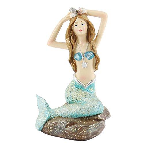 Mystery&Melody Harz Meerjungfrau sitzend Stein Hand auf Kopf Meerjungfrau Figurine Haus und Garten Statue Dekorationen für Mädchen Geschenk gesetzt