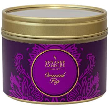 Shearer Candles Oriental Fig Small Scented Gold Tin Candle- Purple