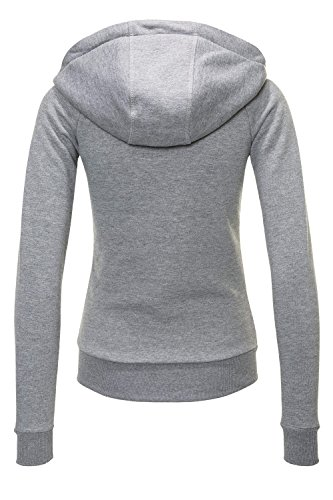 Hailys Damen Sweatjacke Hoodie Sweatshirt Kapuzenpullover (Light Grey Marl/Plain, XS) - 3