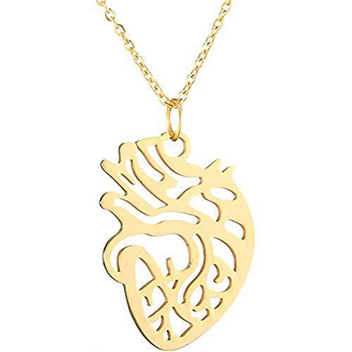 AILUOR Damen Anatomische Herz-Halskette, Mode-Herz-Anhänger Krankenschwester-Doktor Anatomy Physikalisches Medical Charme-Halskette Wissenschaft Schmuck Gold
