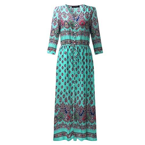 Women Bohemia Print One-Piece Dress Long Dress Summer Beach Dress Breathable Beachwear Sundress Size 3XL (Green)