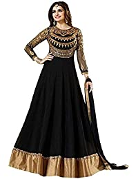 7c55ef3b6ae4 Luxury World Women's Black Color Heavy Embroidered Work Bridal Anarkali Gown  With Diamond Work(Free
