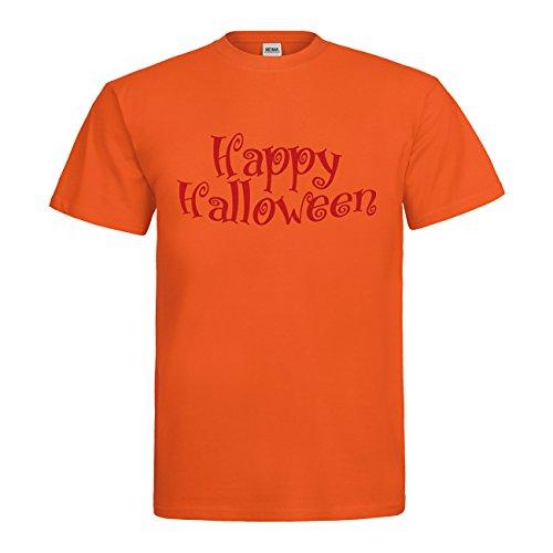 MDMA T-Shirt Happy Halloween Schriftzug N14-mdma-t00735-300 Textil orange / Motiv rot Gr. XXL