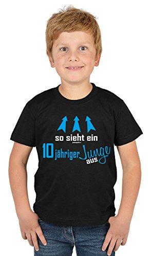Kinder T-Shirt - Kindergeburtstag Geschenk 10 Jahre alt so sieht ein 10 jähriger Junge aus 10 Geburtstagsgeschenk bedruckt Buben Kind - bewährte Qualität in schwarz L : ) (Top-geschenke Für 11-jährigen Jungen)