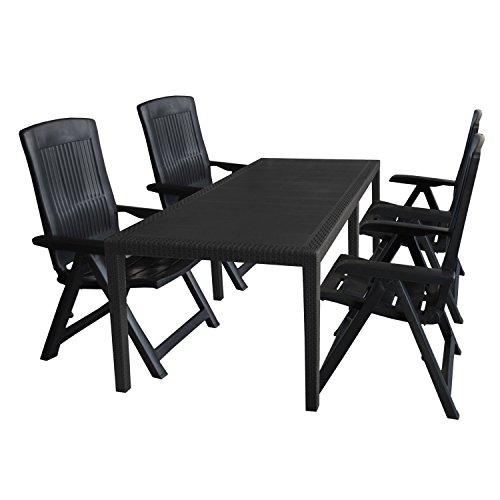 5tlg. Sitzgruppe Gartentisch, erweiterbar, 150/220x90cm + 4x Hochlehner, Kunststoff, Anthrazit / Klappstuhl Ausziehtisch Gartenmöbel Kunststoffmöbel Campingmöbel Set