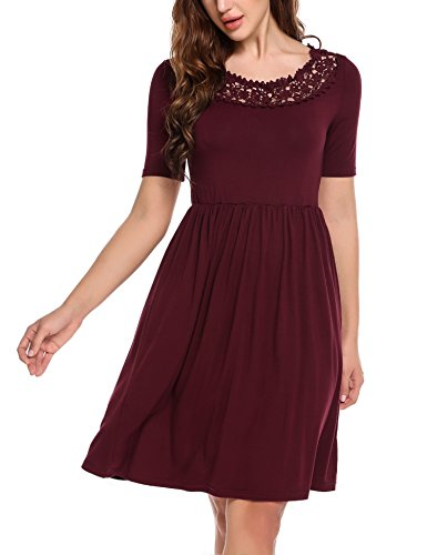 Parabler Damen Elegant Kleid mit Spitzen Sommerkleid Party Cocktailkleid Festliches Kleid A Linie...