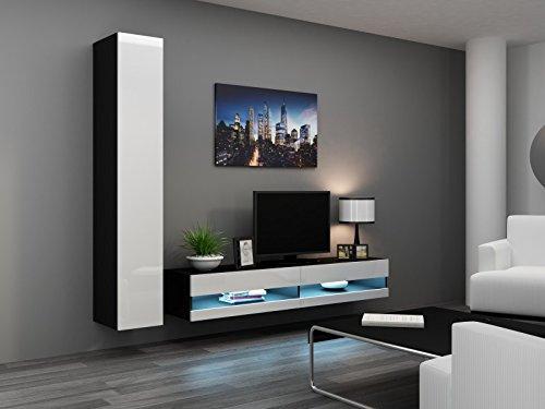 Wohnwand ' Vigo New IV' Hochglanz Hängeschrank Lowboard, Farbe:schwarz matt / weiß Hochglanz
