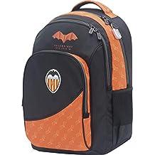 Mochila Valencia CF Centenario Doble Cuerpo Adaptable a Carro Gran Capacidad Color Negro y Naranja 34x45x15