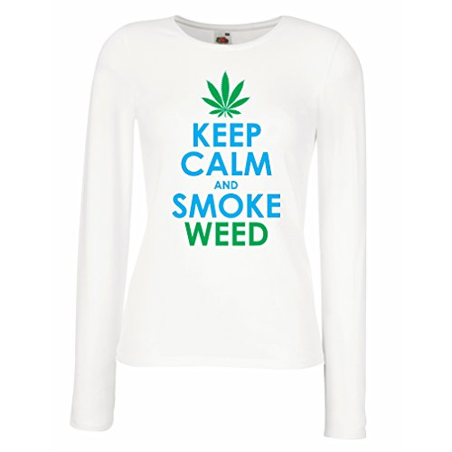 Weibliche langen Ärmeln T-Shirt Halten Sie Ruhe und Rauch - Marihuana Blatt - Unkraut Raucher (Medium Weiß Blau)