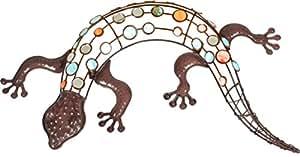Gecko mit farbigen Dekorsteinen aus Metall Rost Optik