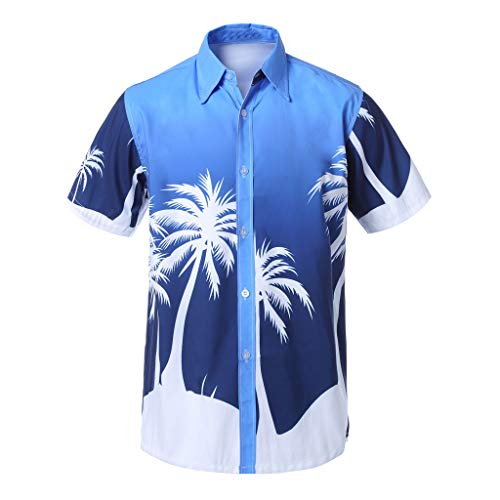 Party Kragen (Herren Hawaiihemd Strand Hawaiihemd Beach Insel Hirsch Party Vordertasche Button Down Kragen Freizeit Hemden Hawaii-Print Kurzarm T-Shirts (XXXL, Blau))