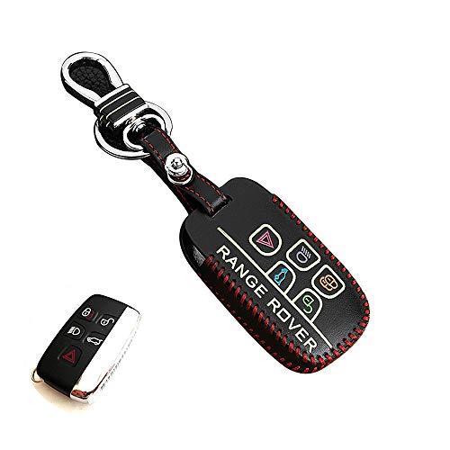 Clé Coque Support Housse Cuir Skin pour Homme Ajustement pour Land Rover Range Rover Evoque Freelander 5 Boutons Smart Remote Key (Noir)