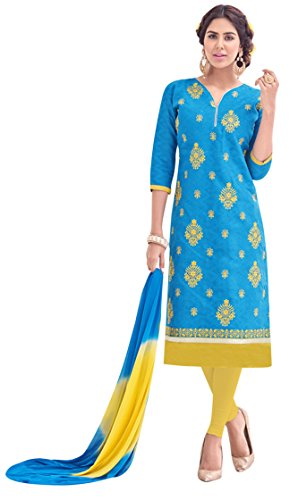 EthnicJunction Women\'s Cotton Dress Material (EJ1125-052_Free Size_Dodger Blue)