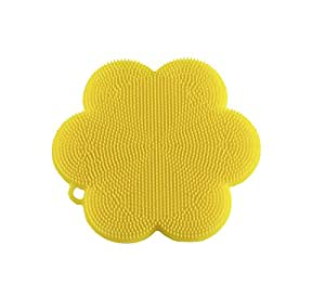 "Kuhn Rikon 23023 Stay Clean Flower Silicone Scrubber, 4.5"", Yellow"