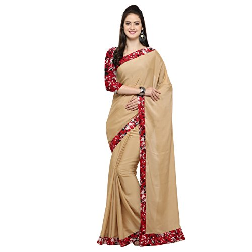 Triveni Womens Faux Georgette Border Worked Everyday Wear Beige Colour saree with...