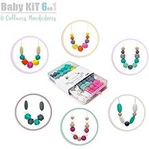 RUBY- Cuentas De Silicona kit Para 6 Collar Lactancia Mordedor Bebé (color vivo) Envio urgente gratis