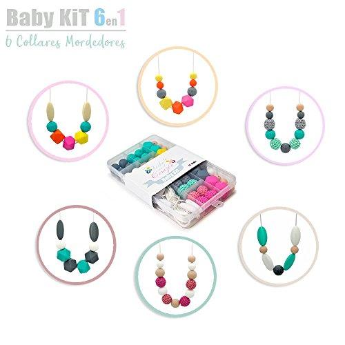 RUBY-Kit Silicone Pour Faire 6 Silicone Collier bébé jouets de dentition avec des perles à croquer 100% Silicone BPA sans BPA Sécurité pour bébé (couleur naturelle)