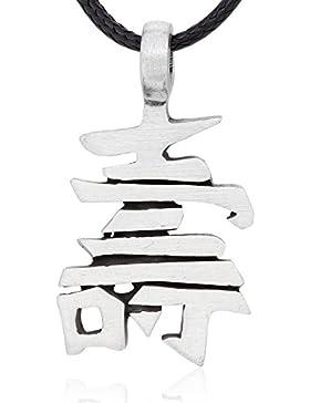 Llords Schmuck Halskette mit chinesischem Zeichen Symbol Anhänger für Schutz, feinster Zinn Metall Modeschmuck
