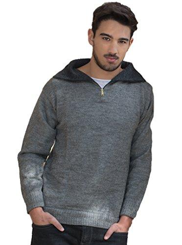 Gamboa - Warm und Weich Alpaka Stehkragen Pullover mit Reißverschluss für herren - Erhältlich in Schwarz, Hellgrau, Dunkelgrau und Weiß Grau