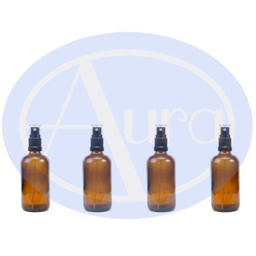 LOT de 4 - Flacons en verre AMBRE 100 ml avec spray ATOMISEUR noir. Utilisation pour les huiles essentielles / et en aromathérapie