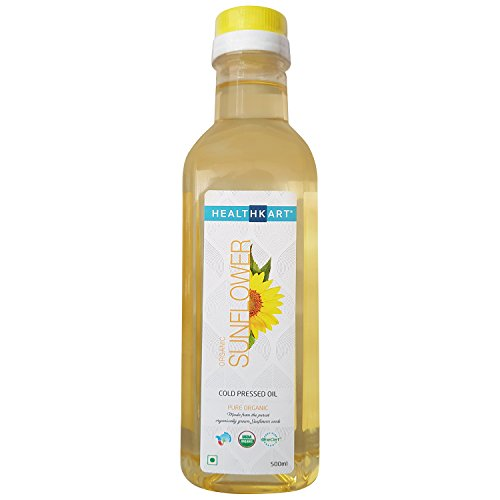 HealthKart Cold Pressed Organic Sunflower Oil, 0.5 L