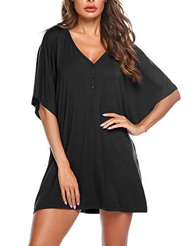 Nachthemd Nachthkleid Schwangere Sommer Schlafanzugoberteil Damen Pyjamas Kurze Ärmel Negligee Casual Kleid Tunika T-Shirt -
