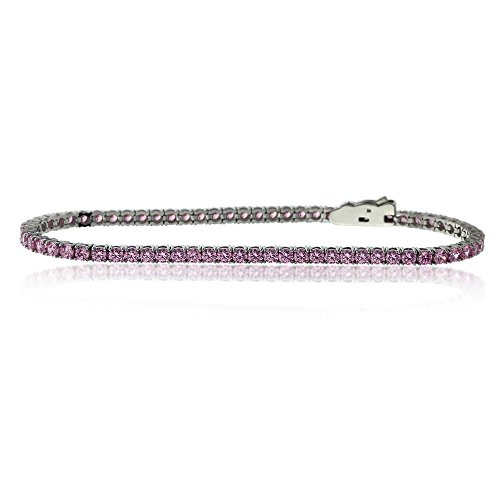 Bracelet Femme Tennis Argent Fin 925/1000 2.5mm 3.6 ct. Rond Oxyde de Zirconium - Colors, 18.4 Inch Rose