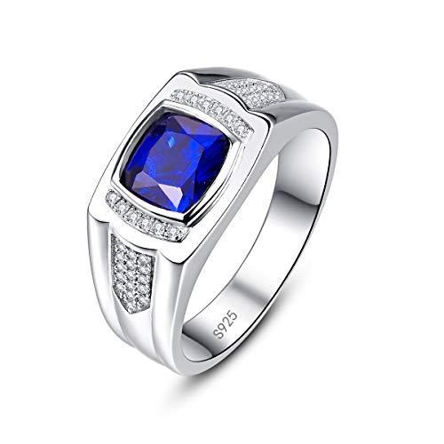 Bonlavie Herren Ring 925 Sterling-Silber mit blau Saphir Zirkonia Men Fashion Schmuck Ehering/Verlobungsring/Freundschaftsring