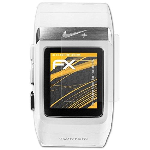 atFoliX Panzerfolie kompatibel mit Tomtom Nike+ SportWatch GPS Schutzfolie, entspiegelnde & stoßdämpfende FX Folie (3X)