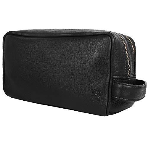 Rustic Town kulturtasche kulturbeutel Leder | Leather Toiletry Bag wash Bag | Leder Kosmetiktasche Waschtasche Reise-Tasche für Herren und Damen (Schwarz)