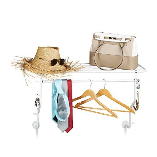 Relaxdays Wandgarderobe mit 10 Haken, Kleiderstangen & Hutablage, Bad-Handtuchhalter, HxBxT: 50 x 93,5 x 31,5 cm, Weiß