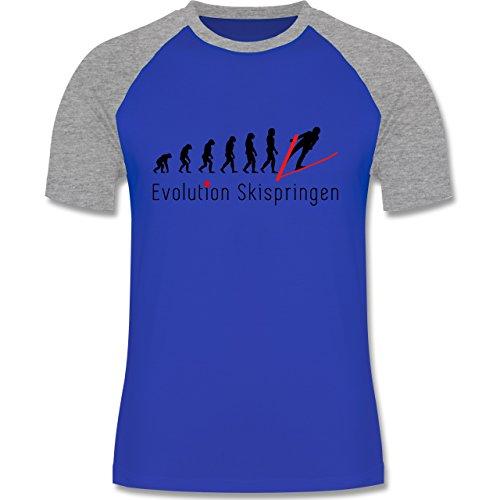 Evolution - Skispringen Evolution - zweifarbiges Baseballshirt für Männer Royalblau/Grau meliert