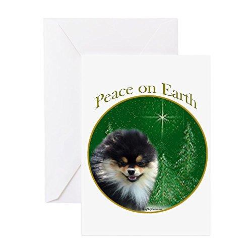 CafePress - Pomeranian Peace - Grußkarte, Notizkarte, Geburtstagskarte, innen blanko, glänzend -