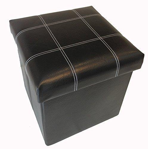 GMMH Hocker Sitzhocker Box Aufbewahrungsbox Sitzwürfel Truhe Fußbank Sitzbank Faltbar (schwarz)