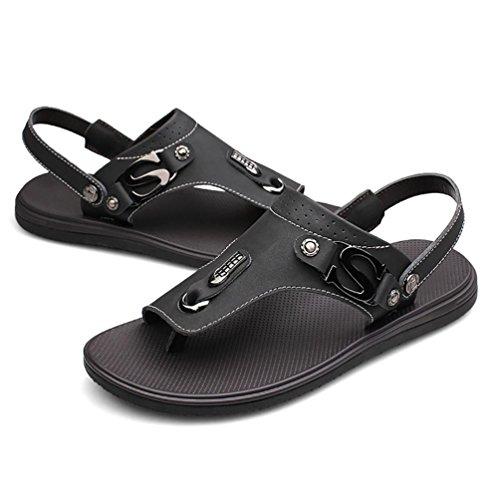 SHANGXIAN Uomo Estate Flip Flops casuale 100% sandali di cuoio Black