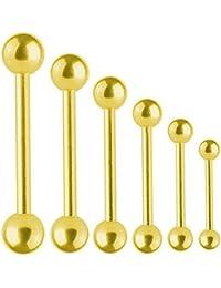 Piercing Barre Titane Doré Barbell 1,6 mm Avec Boules   Longueur 6 - 40 mm