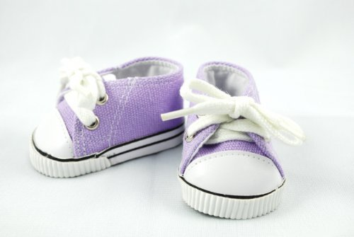 Unique Doll Clothing Low Cut Purple Tennis Shoes for 18 Including The American Girl Line Doll by Unique Doll Clothing (Line Doll)