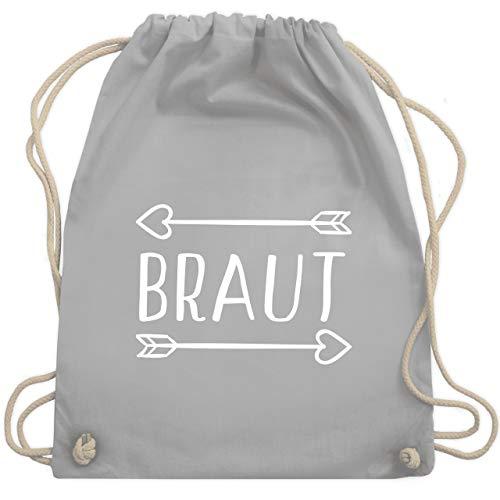 JGA Junggesellinnenabschied - Braut Pfeile - Unisize - Hellgrau - WM110 - Turnbeutel & Gym Bag (Wahl Motto Kostüm)