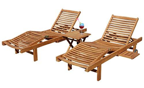 2x Hochwertige TEAK Sonnenliege Gartenliege Strandliege Liegestuhl Holzliege Holz geölt sehr robust Modell: COZY+ 1x Beistelltisch 45x45cm von AS-S
