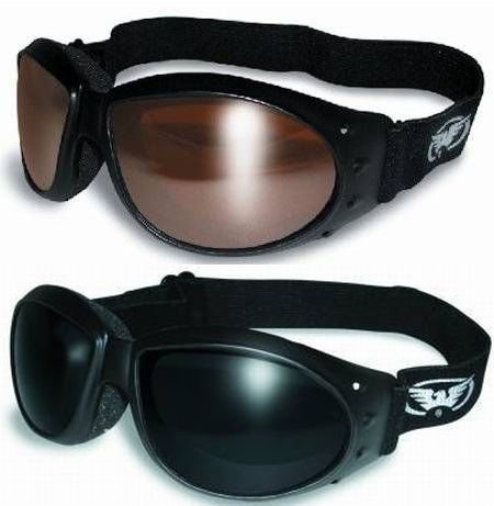 (2 GOGGLES) Motorcycle ATV Riding Driving Mirror and Super Dark Glasses Sunglasses Burning Man plus storage bags by GV