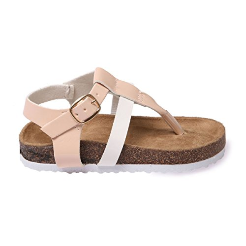 La Modeuse - Sandales plates type nu-pieds avec bride ajustable au niveau de la cheville Beige