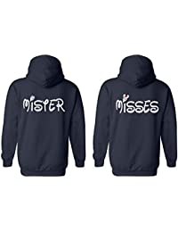 Misses & Mister His and Her Couple Matching Valentines Love White Men Women Unisex Hooded Sweatshirt Hoodie